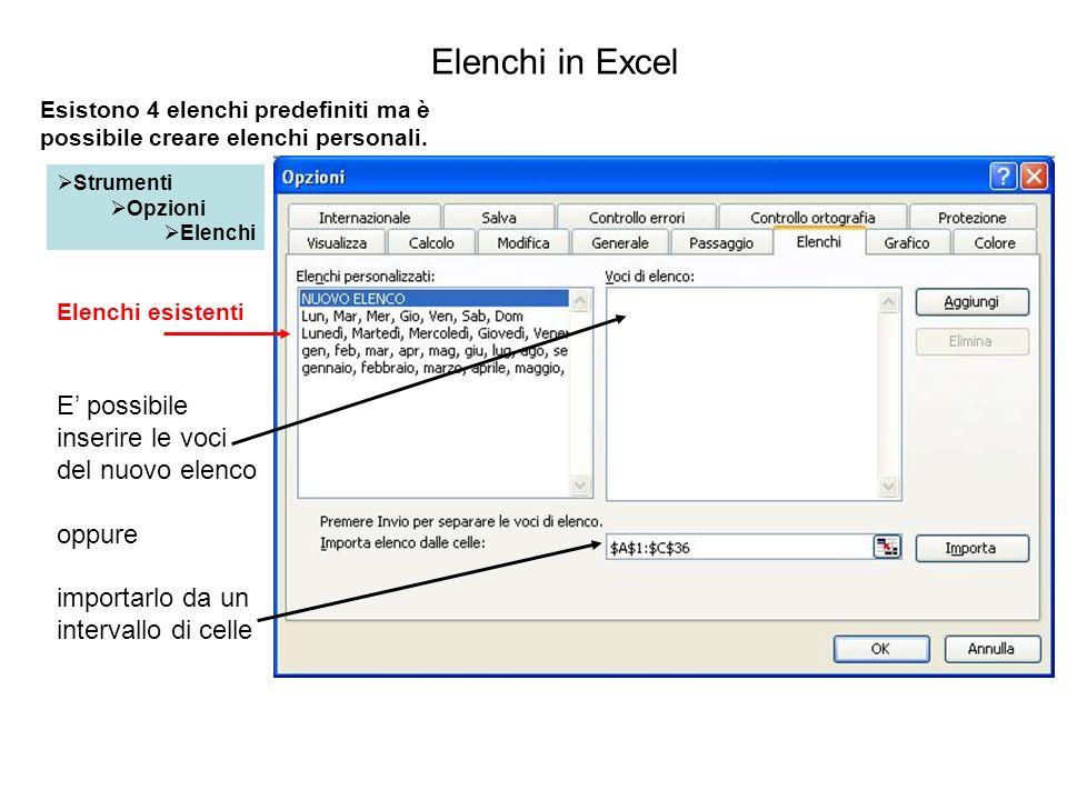 Elenchi in Excel E' possibile inserire le voci del nuovo elenco oppure