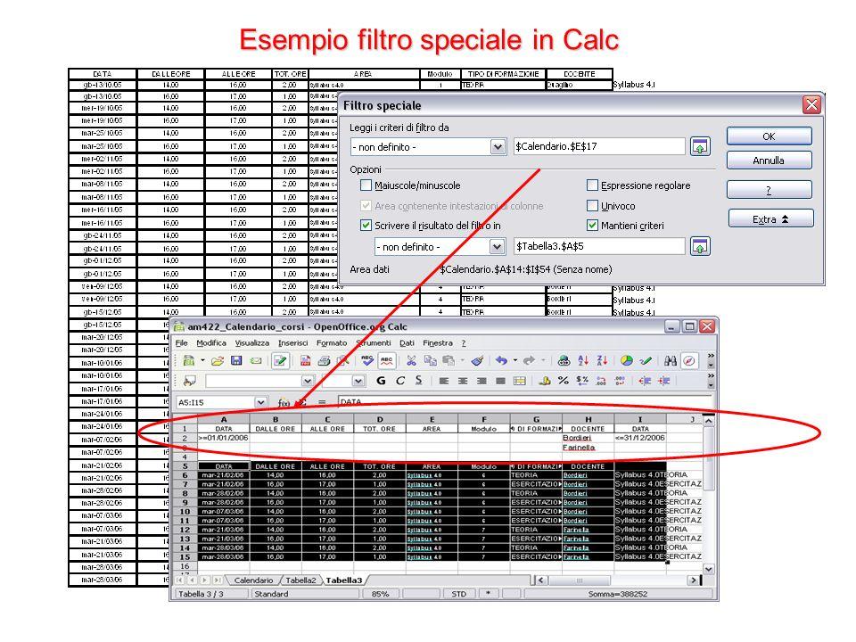 Esempio filtro speciale in Calc