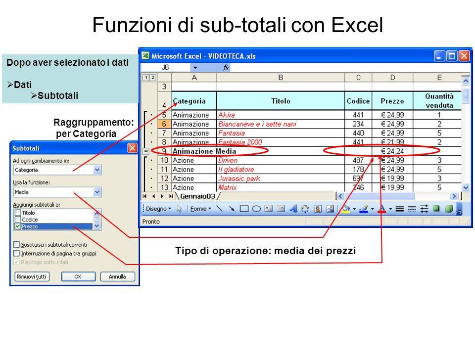 Funzioni di sub-totali con Excel