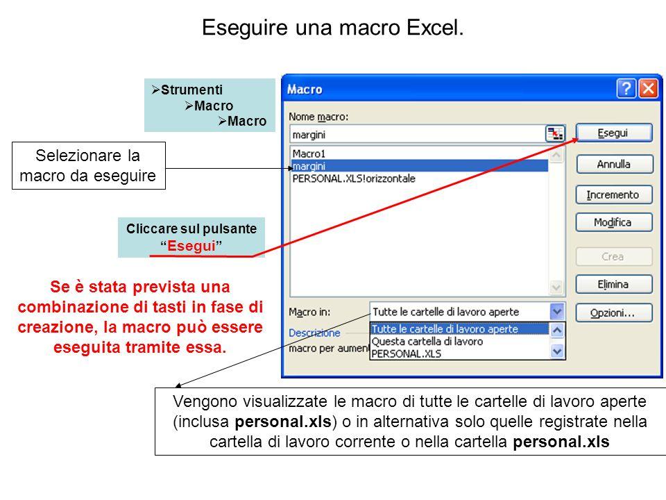 Eseguire una macro Excel.
