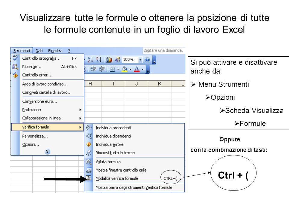 Visualizzare tutte le formule o ottenere la posizione di tutte le formule contenute in un foglio di lavoro Excel