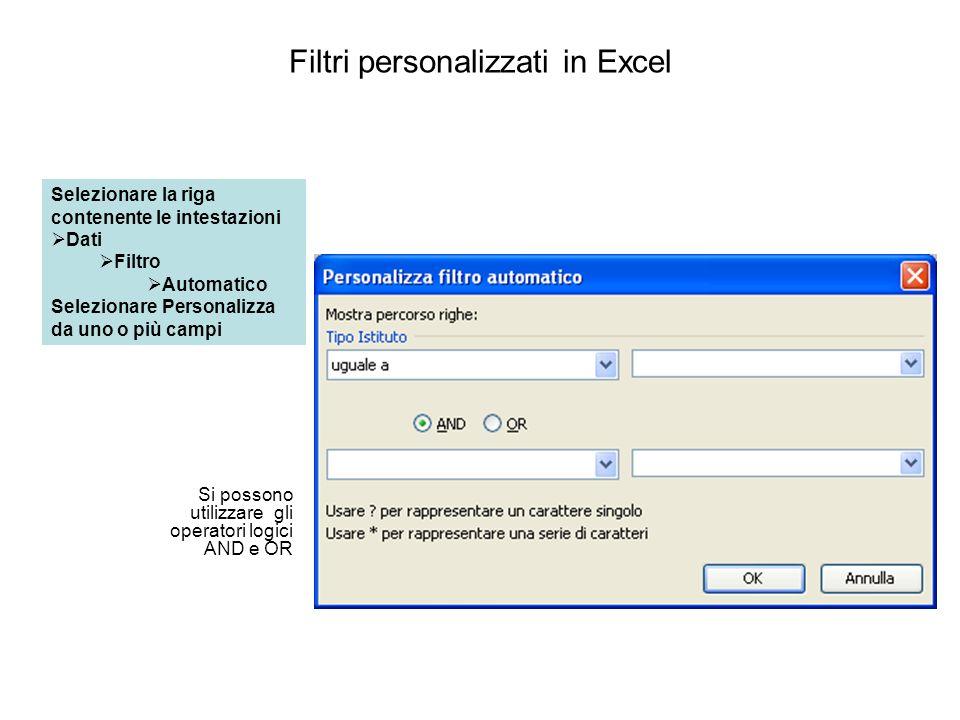 Filtri personalizzati in Excel