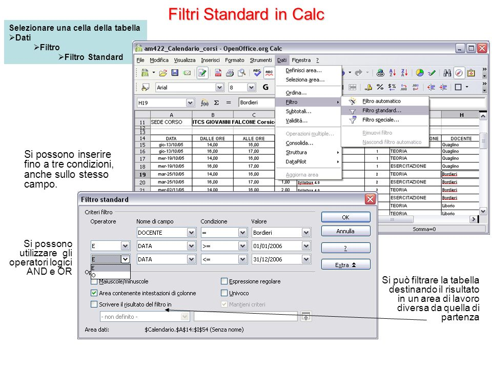 Filtri Standard in Calc