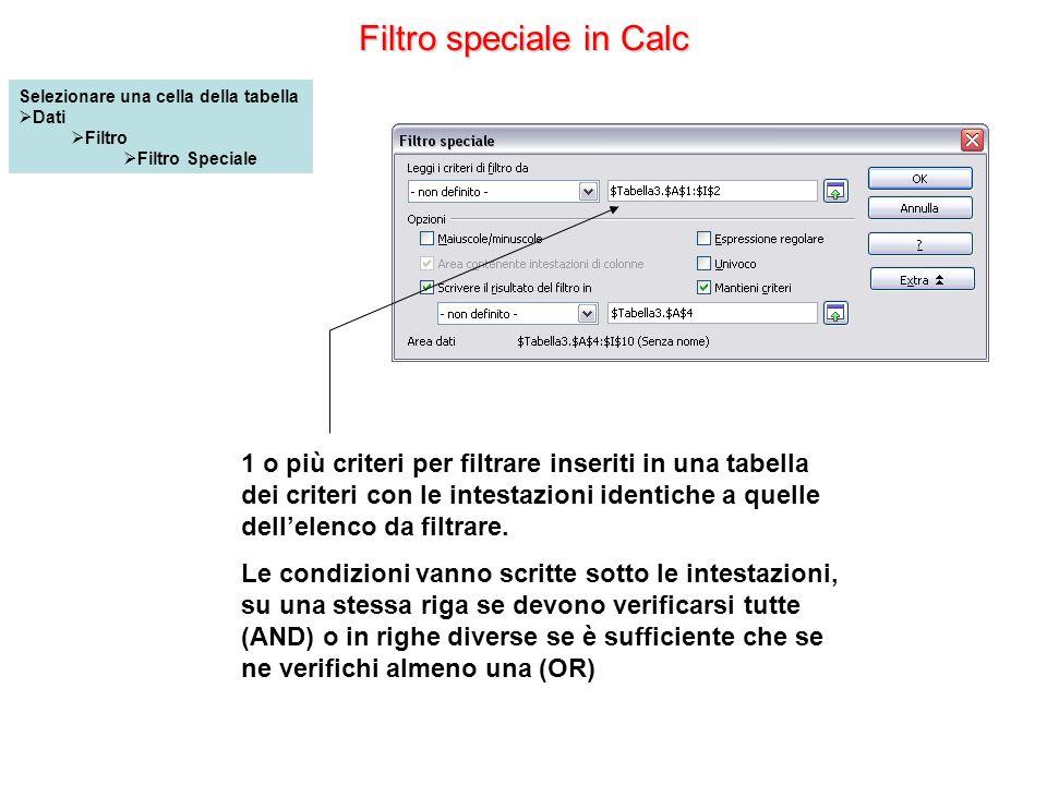 Filtro speciale in Calc