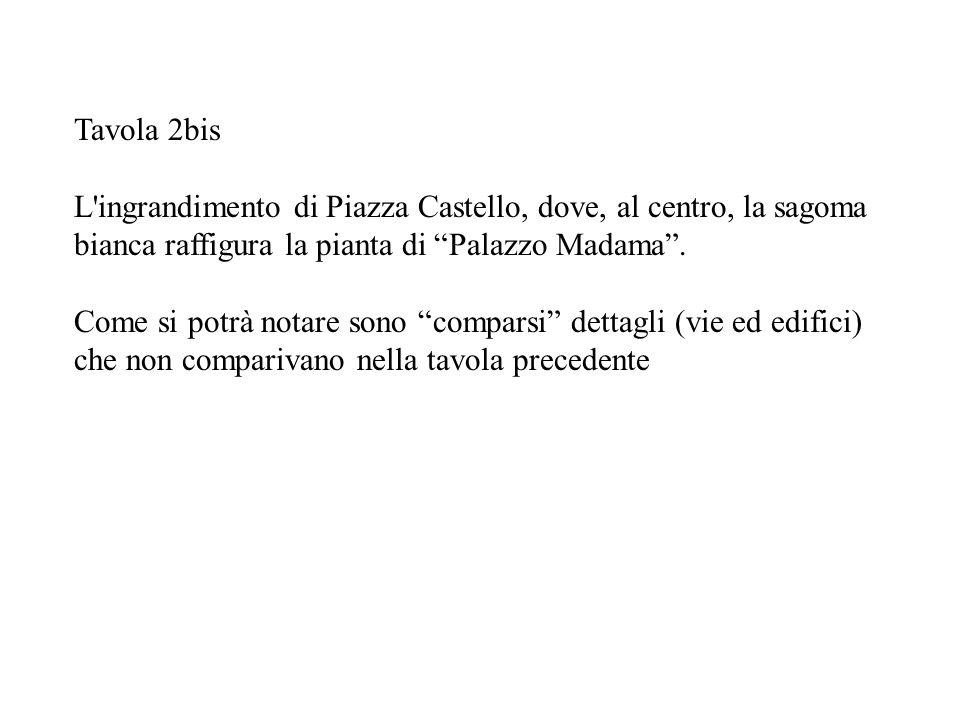 Tavola 2bis L ingrandimento di Piazza Castello, dove, al centro, la sagoma bianca raffigura la pianta di Palazzo Madama .