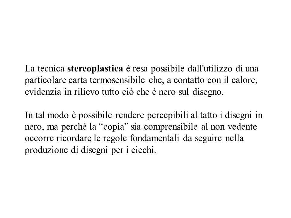 La tecnica stereoplastica è resa possibile dall utilizzo di una particolare carta termosensibile che, a contatto con il calore, evidenzia in rilievo tutto ciò che è nero sul disegno.