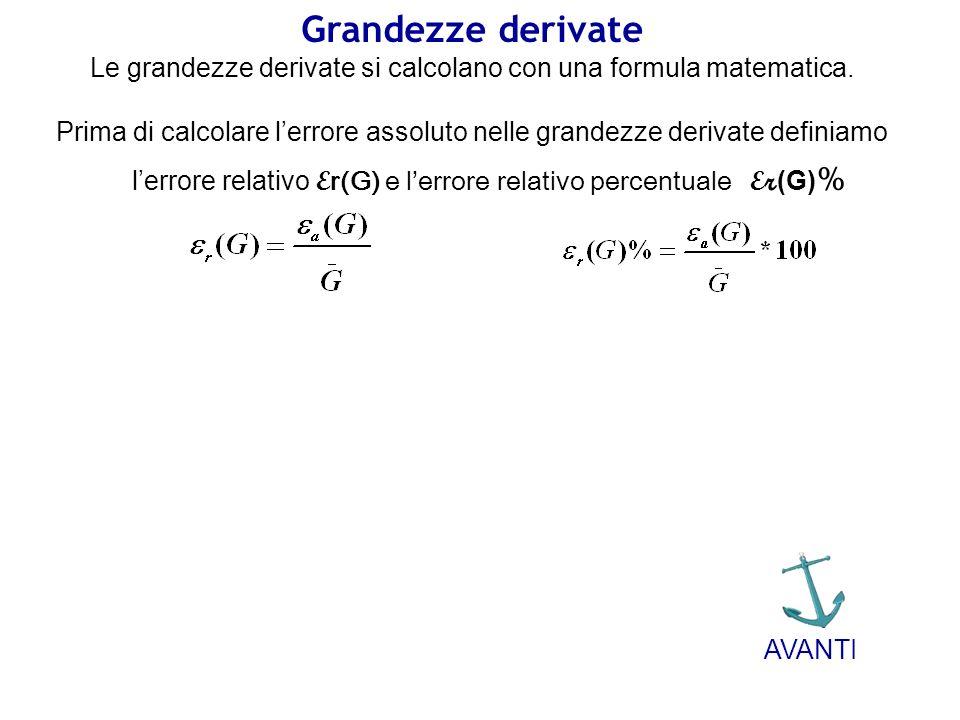 Le grandezze derivate si calcolano con una formula matematica.