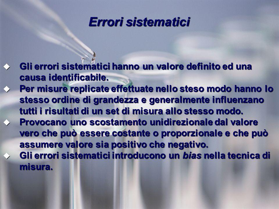 Errori sistematici Gli errori sistematici hanno un valore definito ed una causa identificabile.