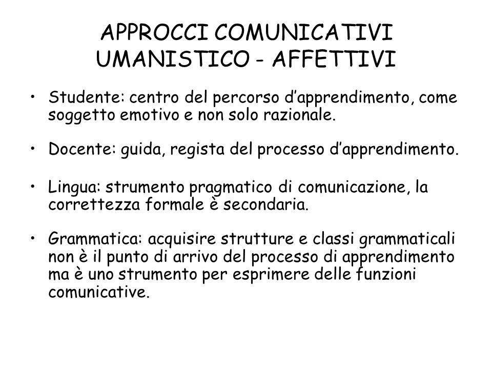 APPROCCI COMUNICATIVI UMANISTICO - AFFETTIVI