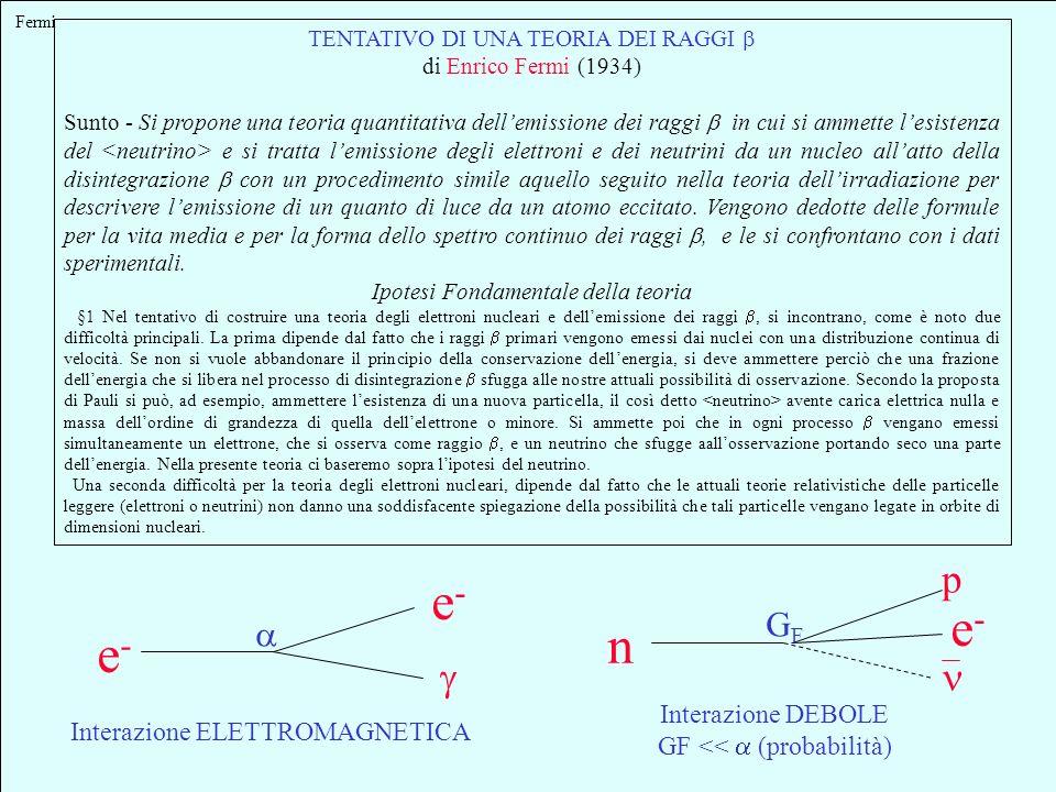 e- e- n p g GF a Interazione DEBOLE Interazione ELETTROMAGNETICA