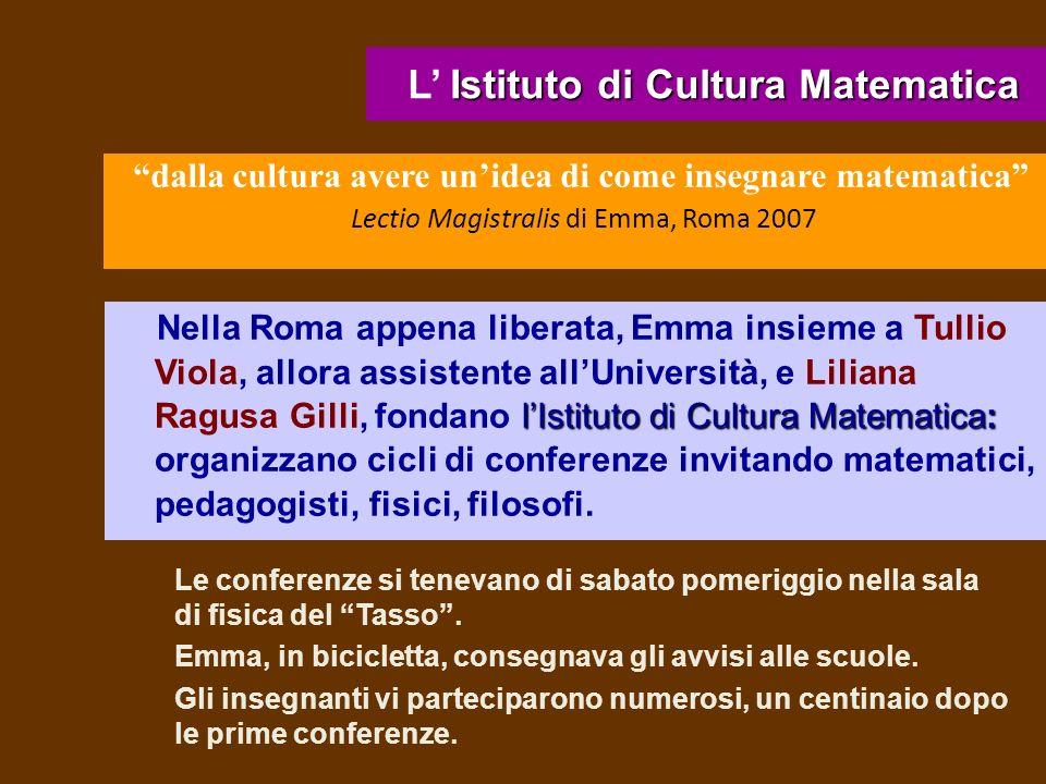 L' Istituto di Cultura Matematica
