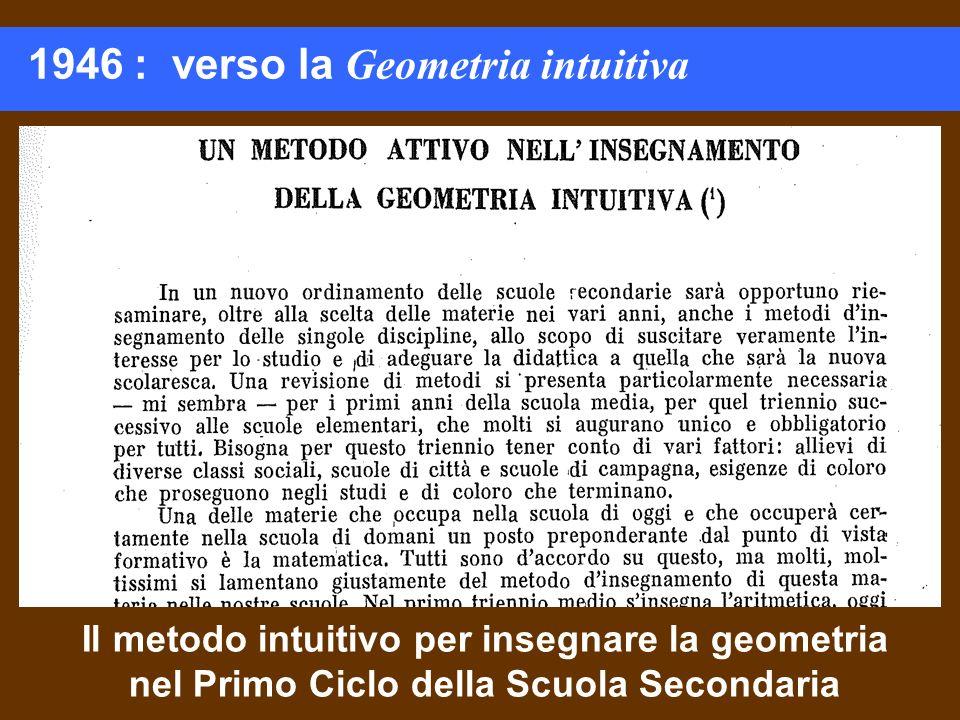 1946 : verso la Geometria intuitiva