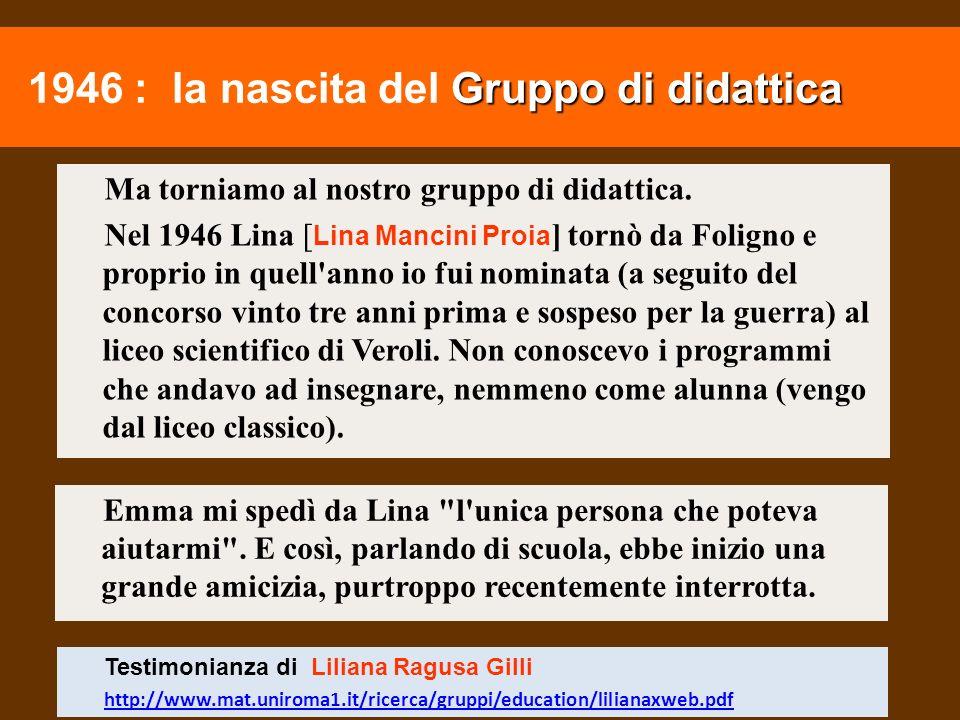 1946 : la nascita del Gruppo di didattica