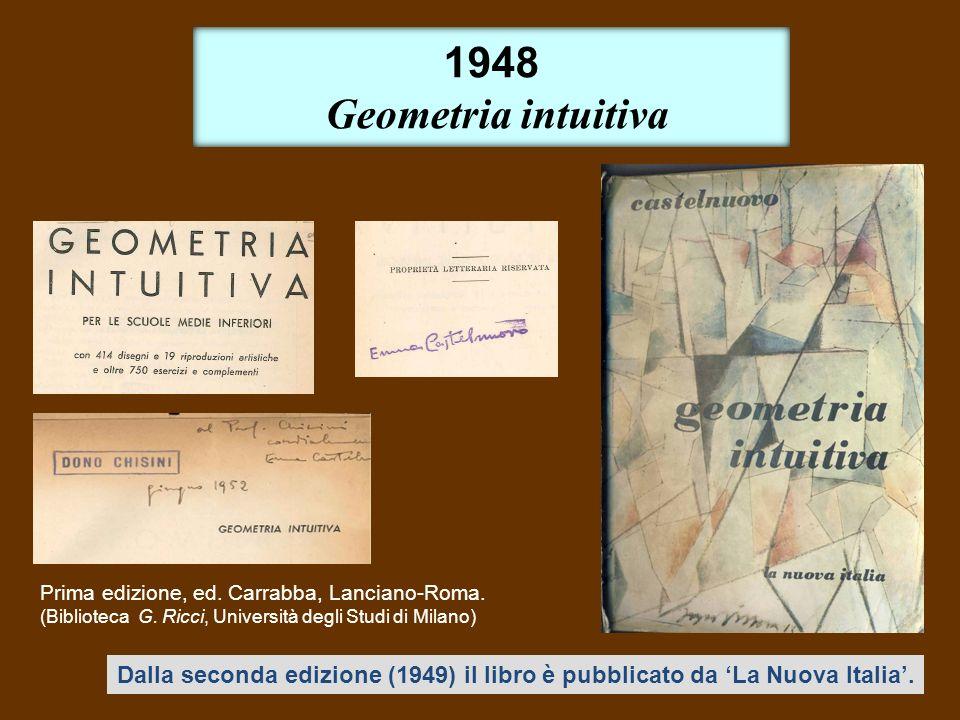 1948 Geometria intuitiva. Prima edizione, ed. Carrabba, Lanciano-Roma. (Biblioteca G. Ricci, Università degli Studi di Milano)