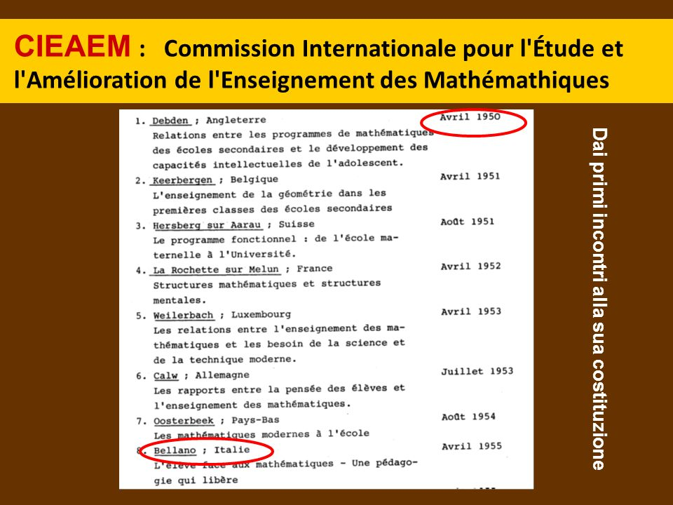 CIEAEM : Commission Internationale pour l Étude et l Amélioration de l Enseignement des Mathémathiques