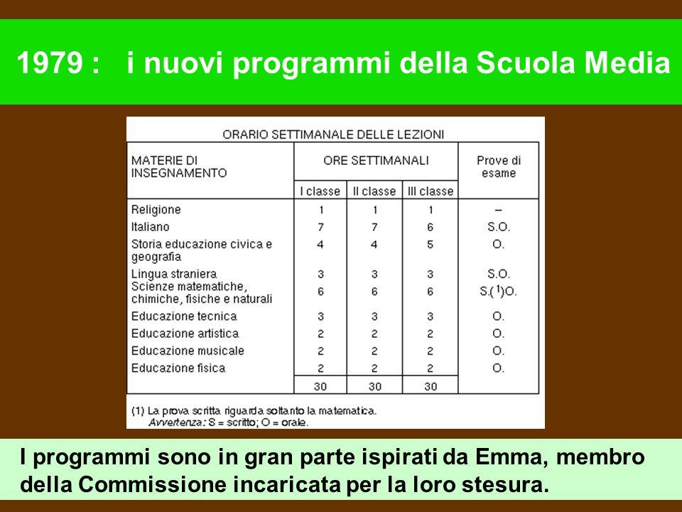 1979 : i nuovi programmi della Scuola Media