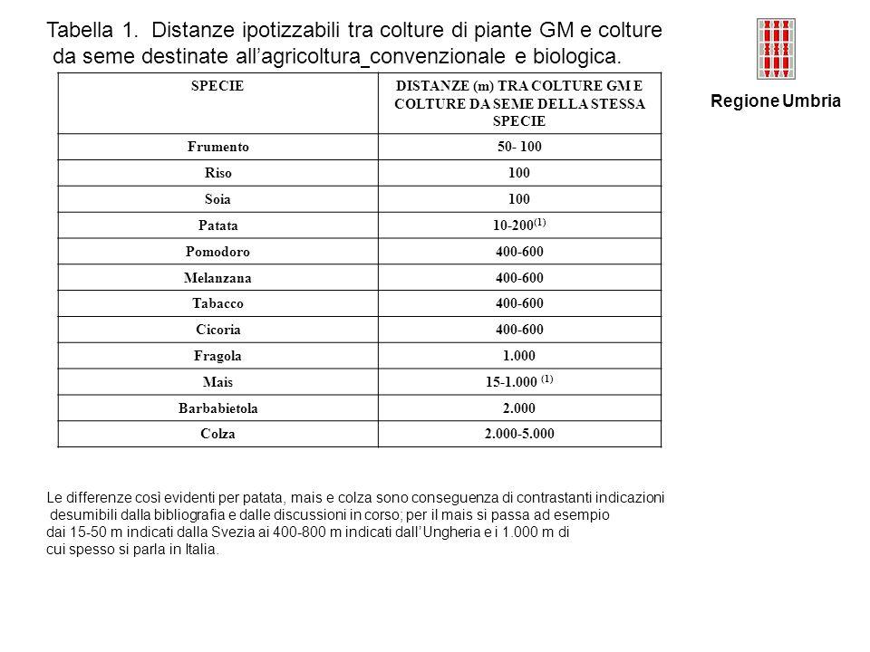 DISTANZE (m) TRA COLTURE GM E COLTURE DA SEME DELLA STESSA SPECIE