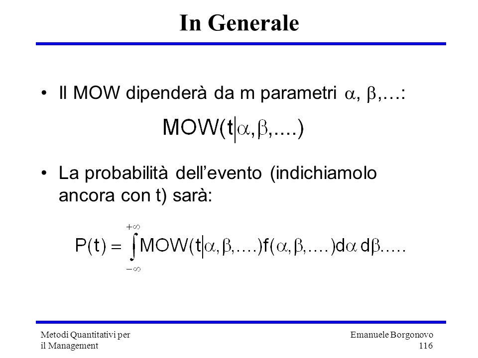 In Generale Il MOW dipenderà da m parametri , ,…: