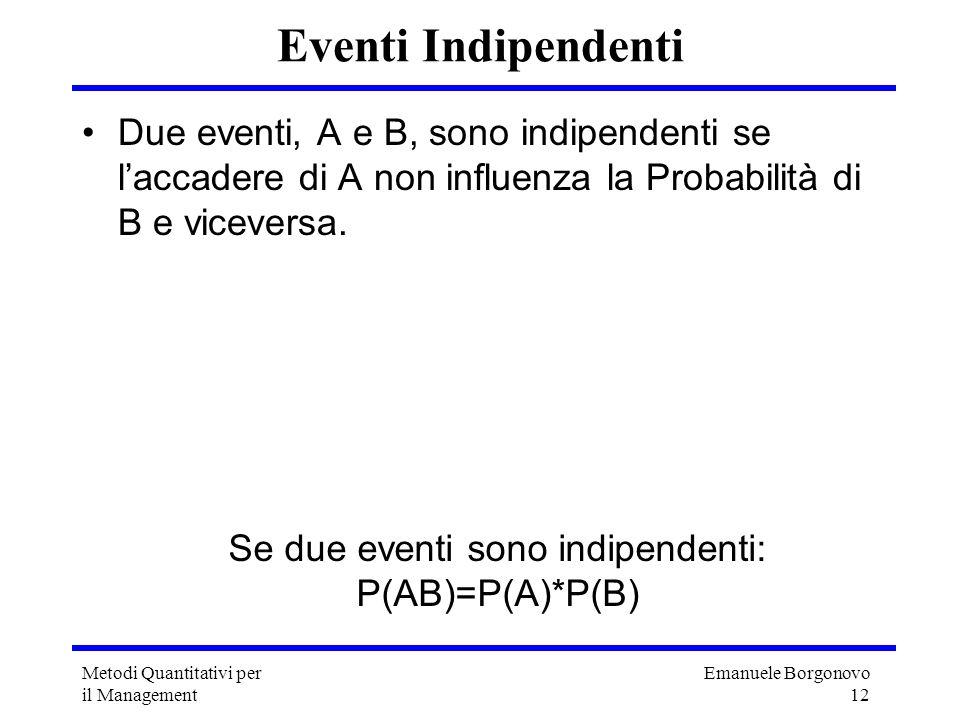 Se due eventi sono indipendenti:
