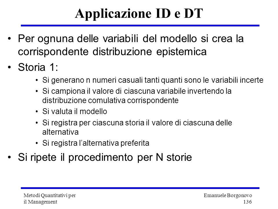Applicazione ID e DT Per ognuna delle variabili del modello si crea la corrispondente distribuzione epistemica.