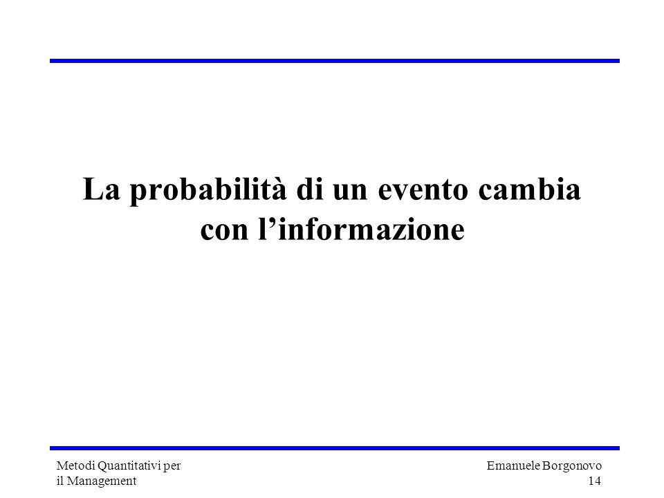 La probabilità di un evento cambia con l'informazione