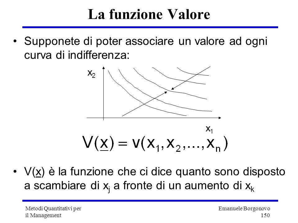 La funzione Valore Supponete di poter associare un valore ad ogni curva di indifferenza: