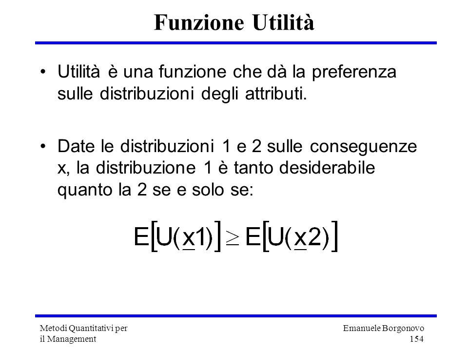 Funzione Utilità Utilità è una funzione che dà la preferenza sulle distribuzioni degli attributi.