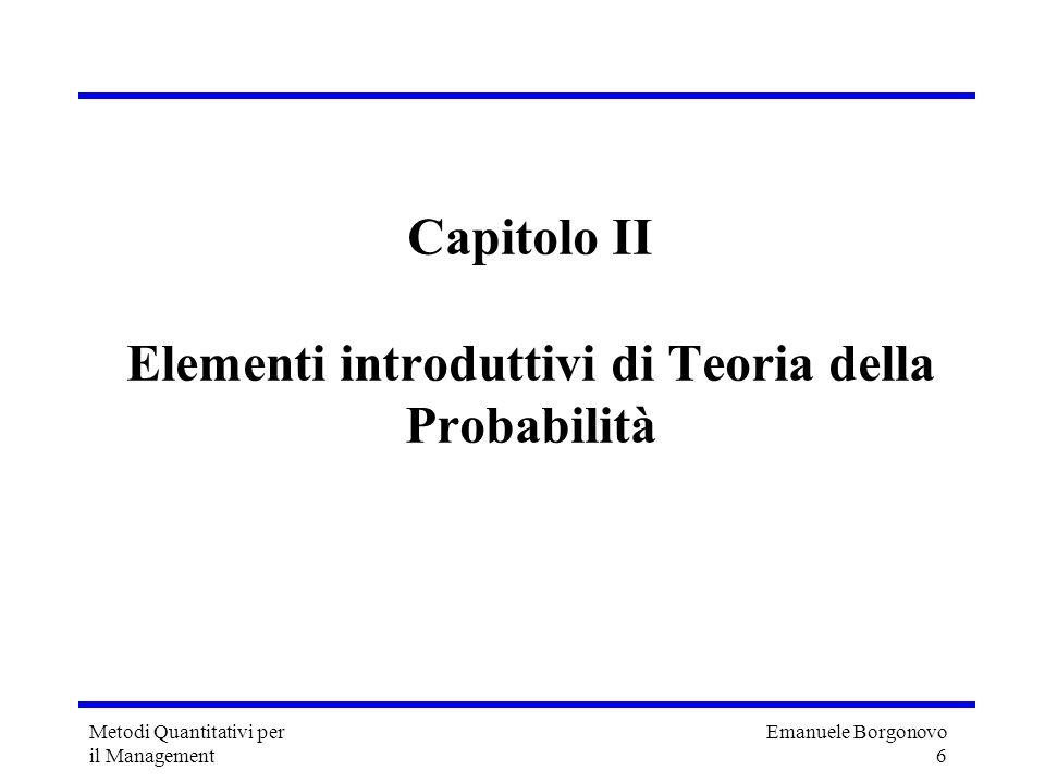 Capitolo II Elementi introduttivi di Teoria della Probabilità