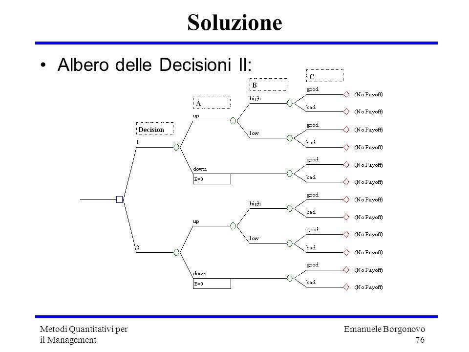 Soluzione Albero delle Decisioni II: