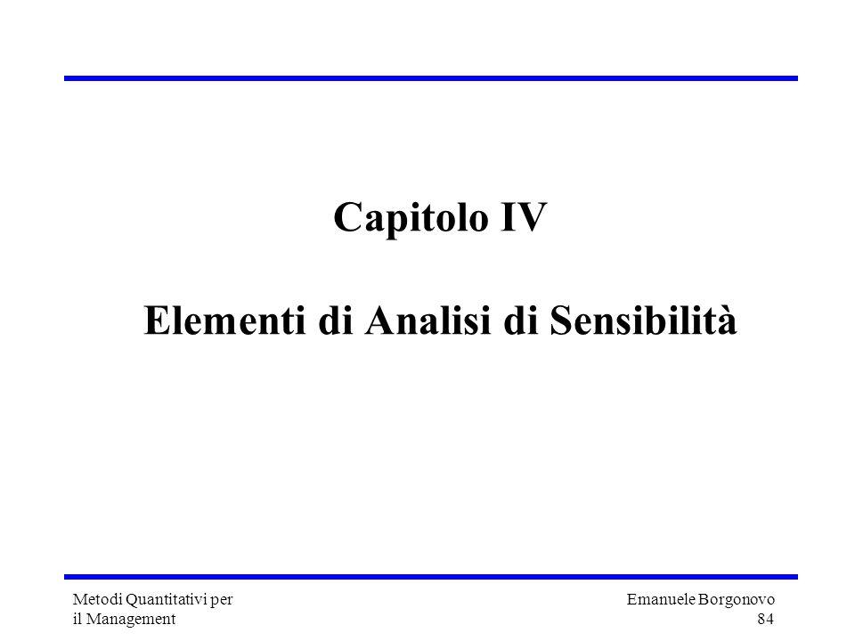 Capitolo IV Elementi di Analisi di Sensibilità