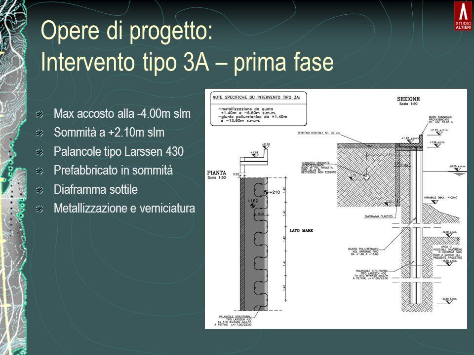 Opere di progetto: Intervento tipo 3A – prima fase