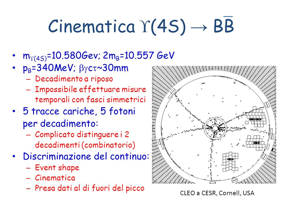 Cinematica (4S) → BB m(4S)=10.580Gev; 2mB=10.557 GeV
