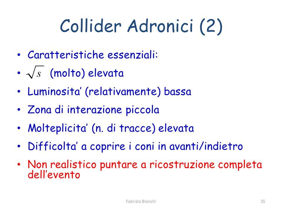 Collider Adronici (2) Caratteristiche essenziali: (molto) elevata