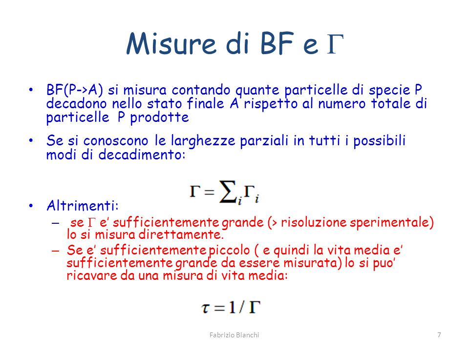 Misure di BF e G