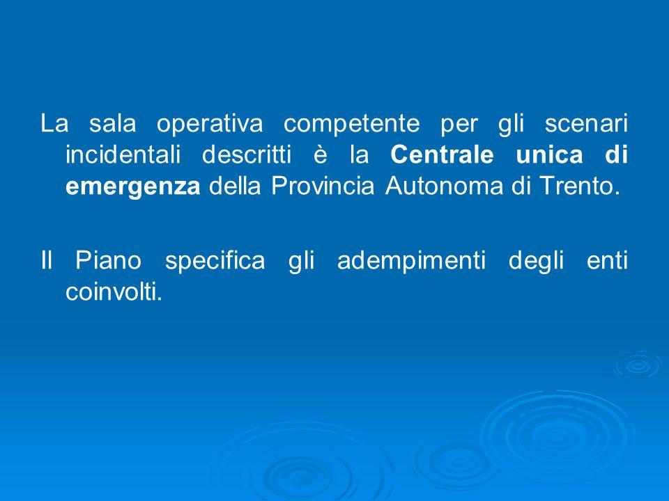 La sala operativa competente per gli scenari incidentali descritti è la Centrale unica di emergenza della Provincia Autonoma di Trento.