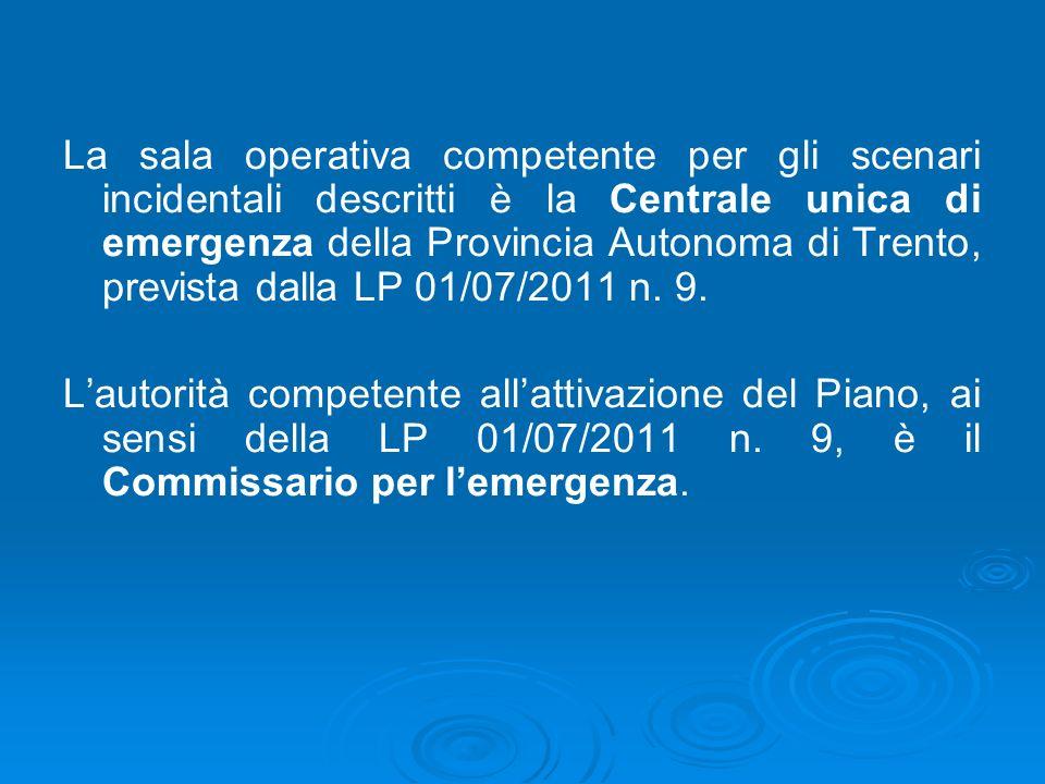 La sala operativa competente per gli scenari incidentali descritti è la Centrale unica di emergenza della Provincia Autonoma di Trento, prevista dalla LP 01/07/2011 n. 9.