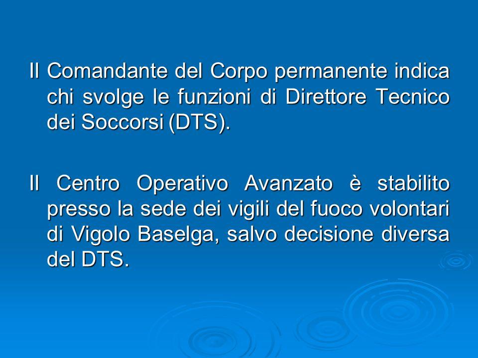 Il Comandante del Corpo permanente indica chi svolge le funzioni di Direttore Tecnico dei Soccorsi (DTS).