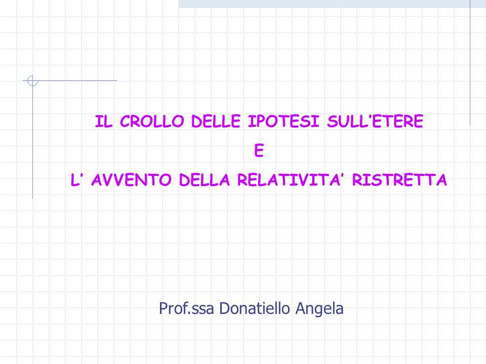 L' AVVENTO DELLA RELATIVITA' RISTRETTA