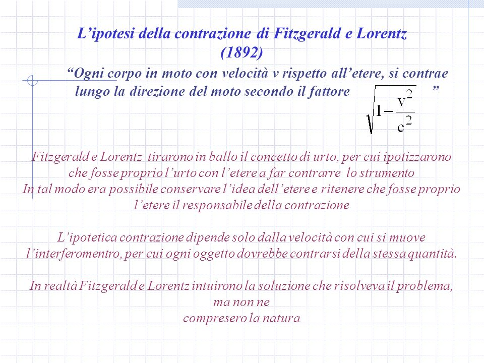 L'ipotesi della contrazione di Fitzgerald e Lorentz