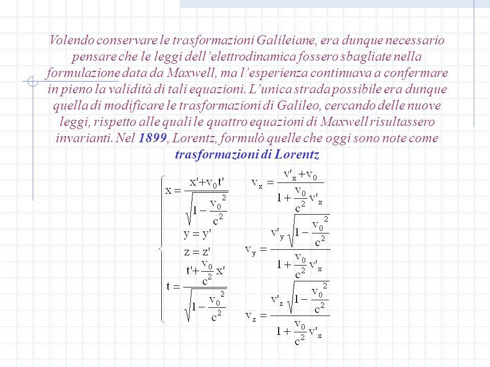 Volendo conservare le trasformazioni Galileiane, era dunque necessario pensare che le leggi dell'elettrodinamica fossero sbagliate nella formulazione data da Maxwell, ma l'esperienza continuava a confermare in pieno la validità di tali equazioni.