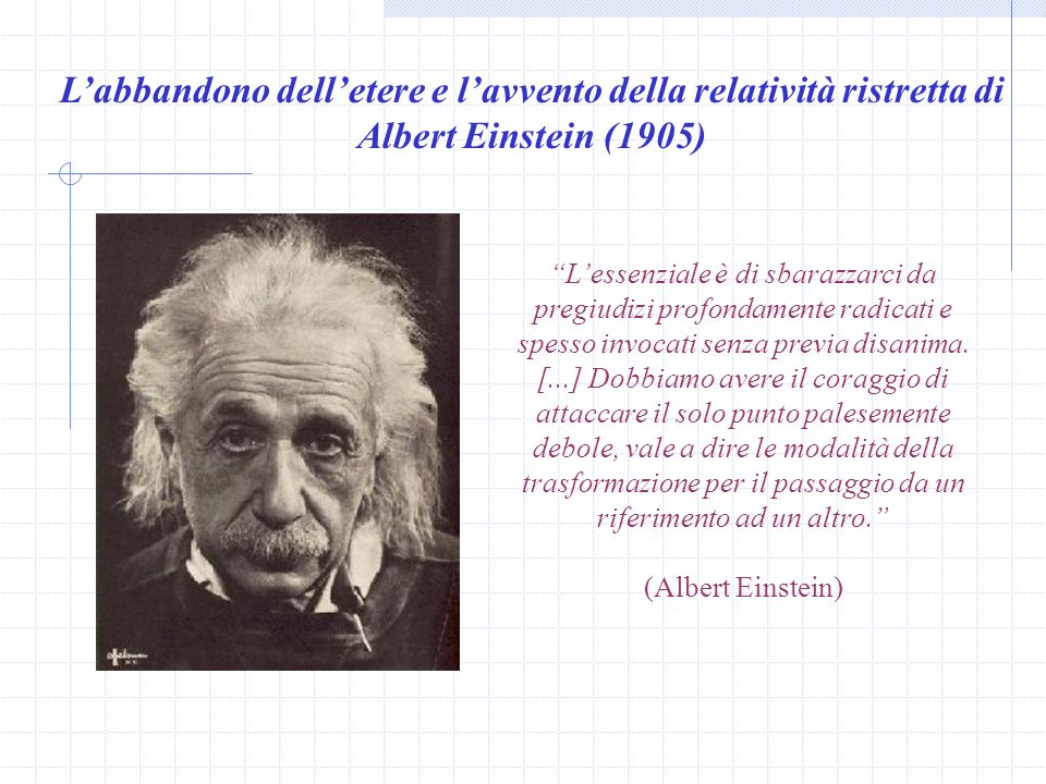 L'abbandono dell'etere e l'avvento della relatività ristretta di Albert Einstein (1905)