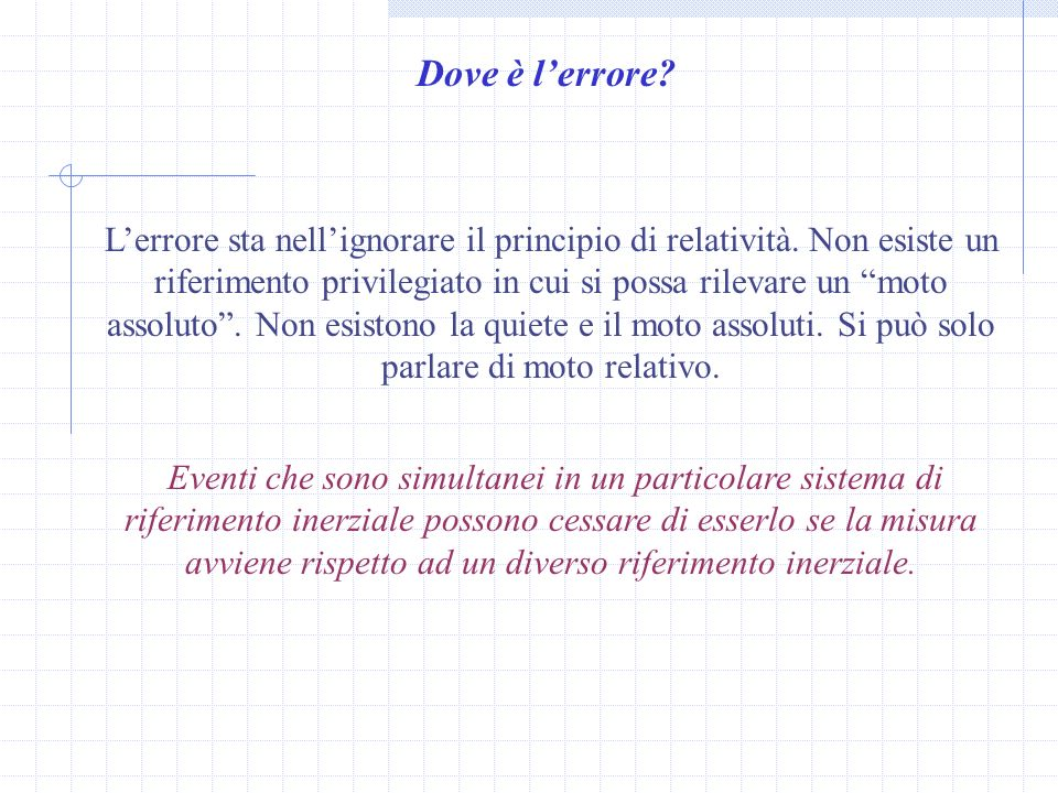 Dove è l'errore