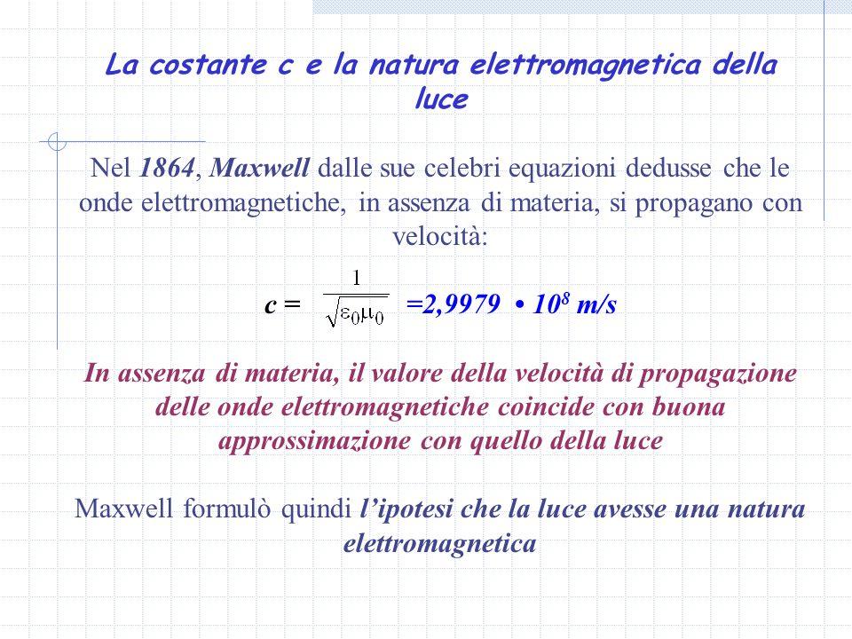La costante c e la natura elettromagnetica della luce