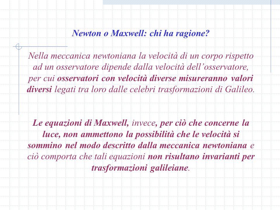 Newton o Maxwell: chi ha ragione