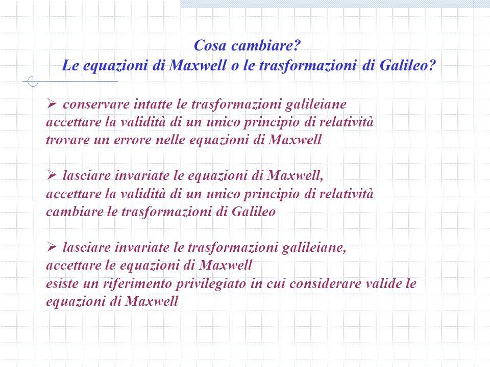 Le equazioni di Maxwell o le trasformazioni di Galileo