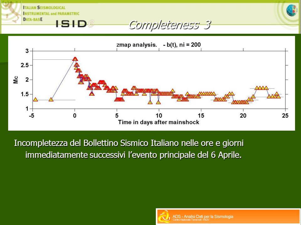 Completeness 3 Incompletezza del Bollettino Sismico Italiano nelle ore e giorni immediatamente successivi l'evento principale del 6 Aprile.
