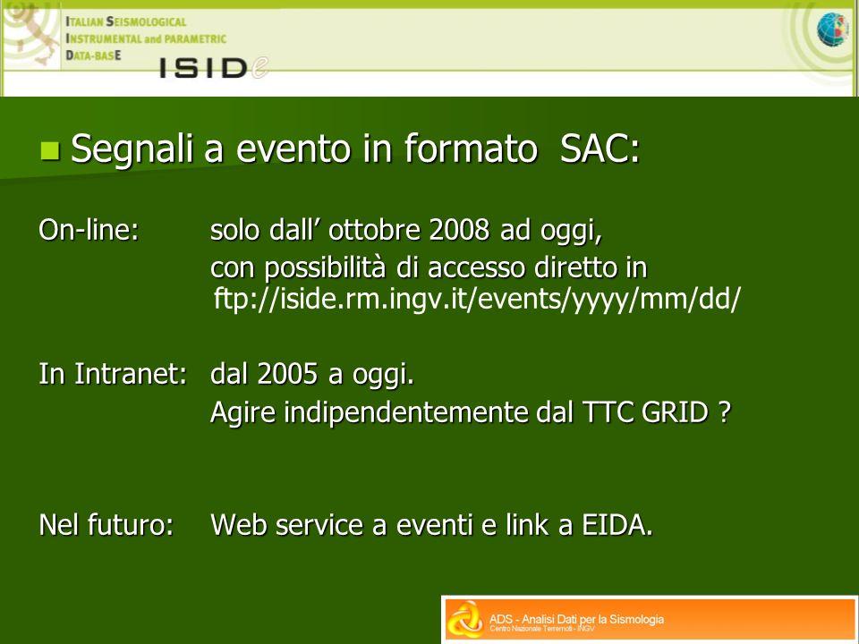 Segnali a evento in formato SAC: