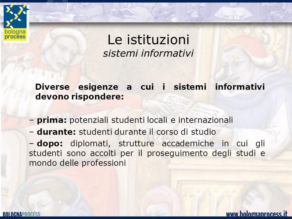 Le istituzioni sistemi informativi
