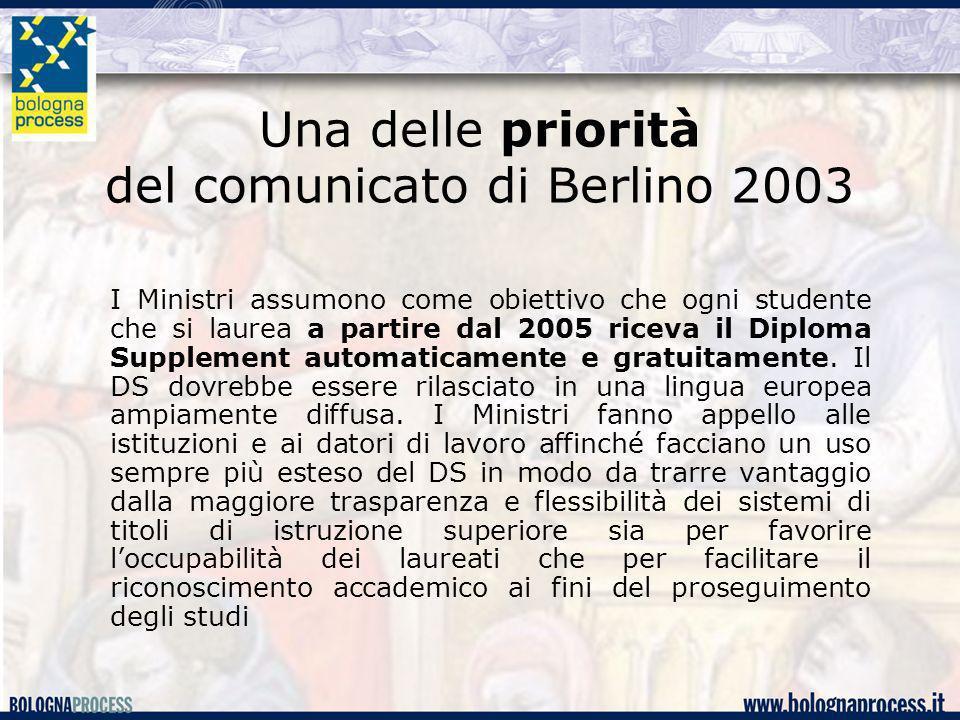 Una delle priorità del comunicato di Berlino 2003