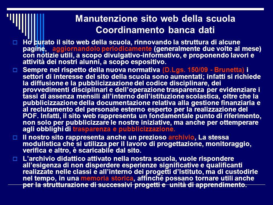 Manutenzione sito web della scuola Coordinamento banca dati